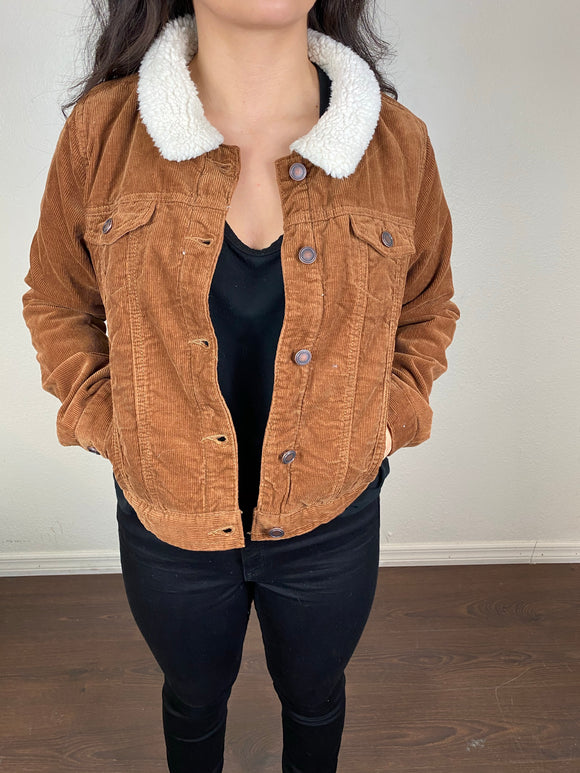Corduroy Sherpa Lined Trucker Jacket (Golden Brown)