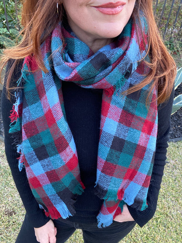 Flannel Plaid Scarf (Red/Black)