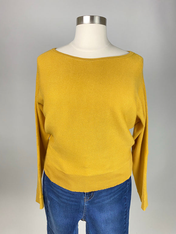 Boatneck Knit Sweater Plus Size (Mustard)