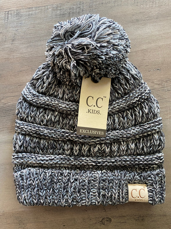 Kids C.C Pom Beanie (Black Multi)