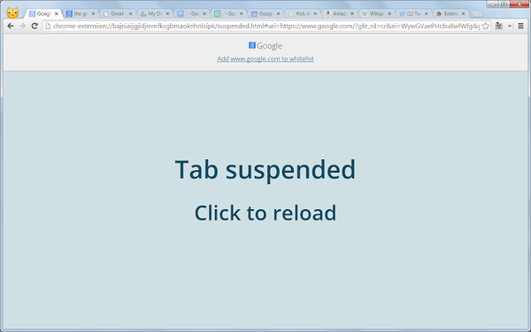 tab suspended