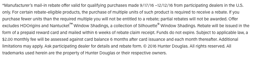 Hunter Douglas Discount and Rebate Disclaimer