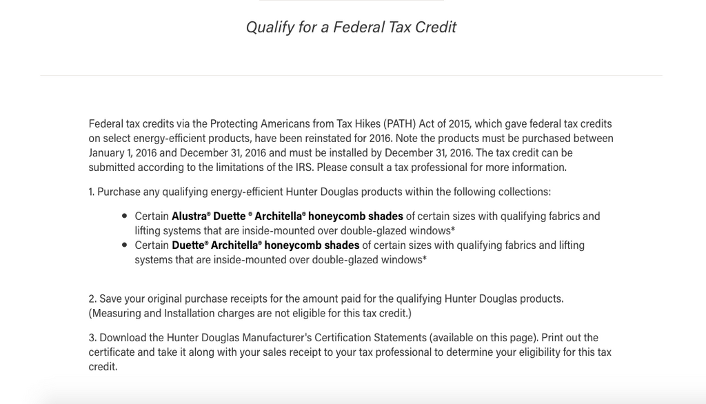 Hunter Douglas Federal Tax Credit Details