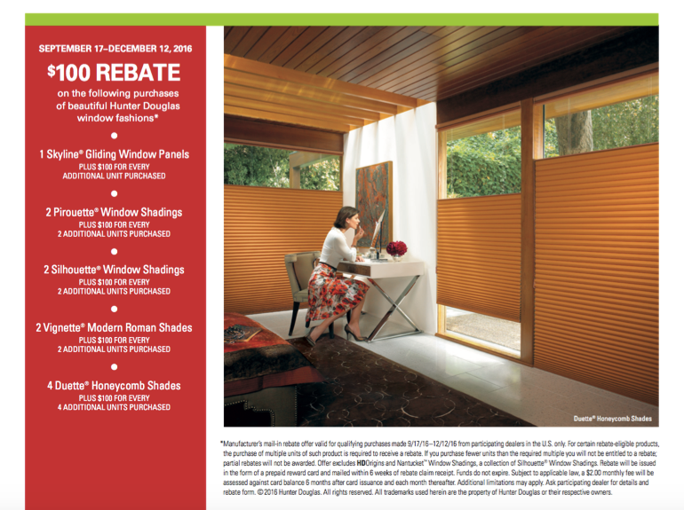 Hunter Douglas Rebate Inclusions
