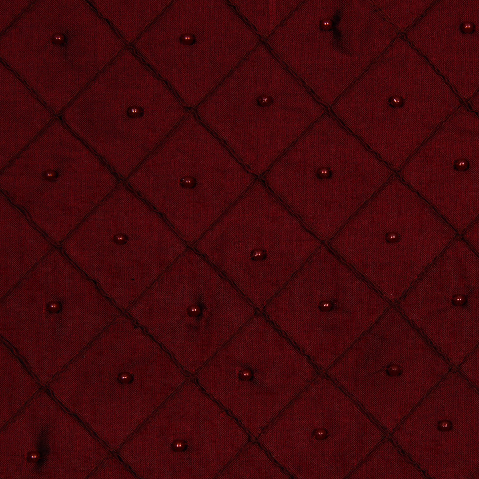 LAVA-RED HOT-GARNET Mini Pearls Fabric - Lacquer