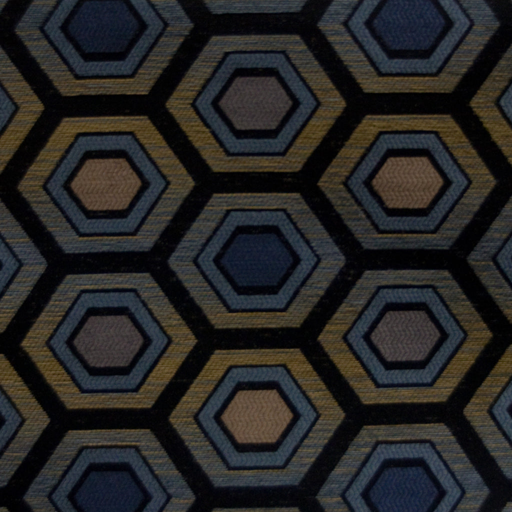 Hexagon Chenille - Indigo