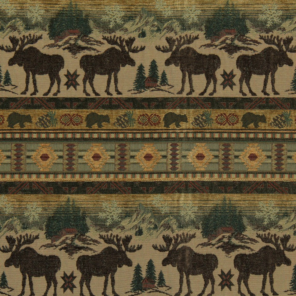 Moose Country Fabric - Chocolat