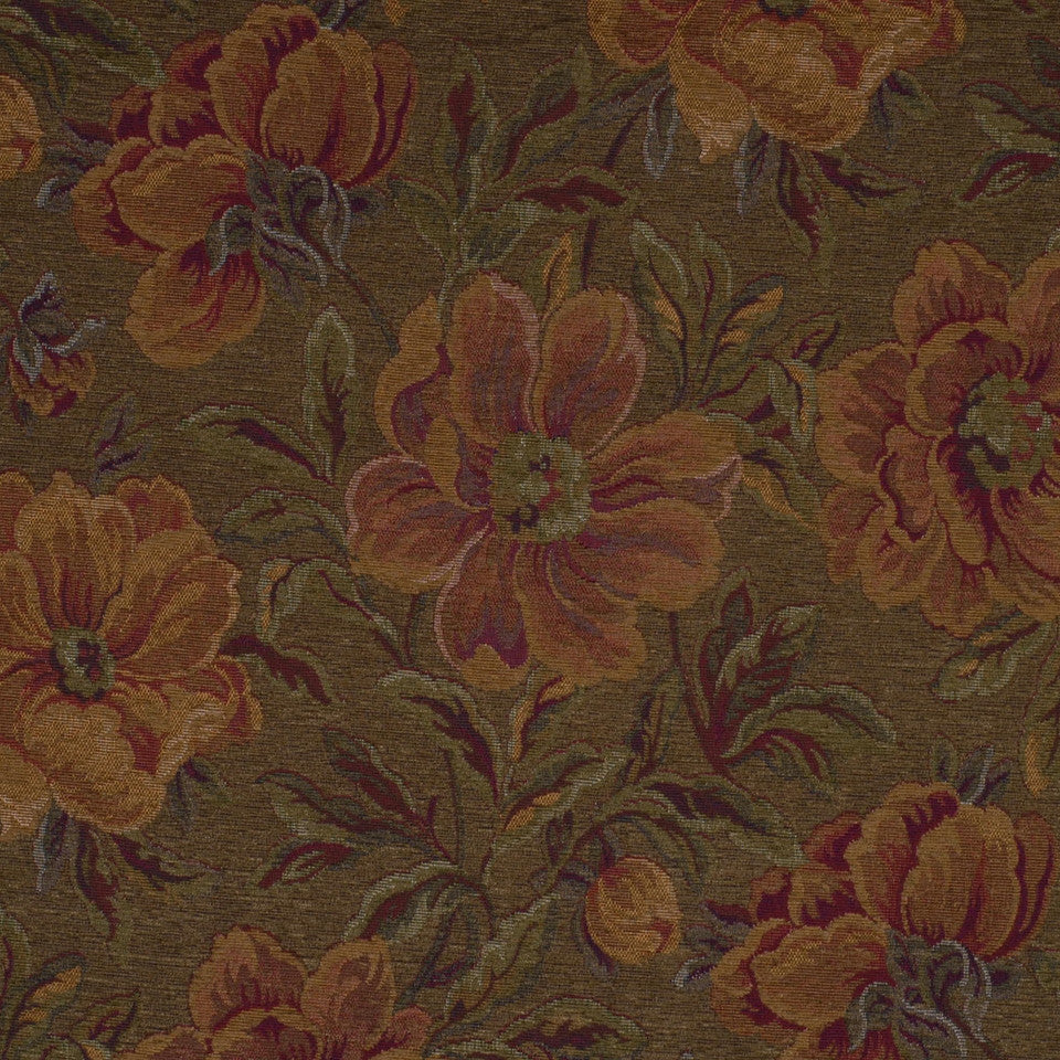 WASHED CHENILLE JACQUARDS Charlemagne Fabric - Chestnut