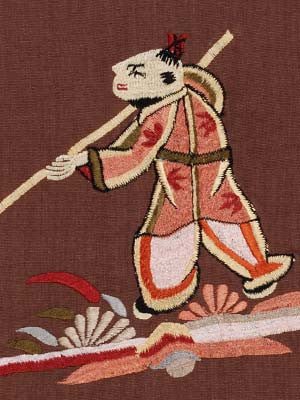 Oriental Games Fabric - Tobacco