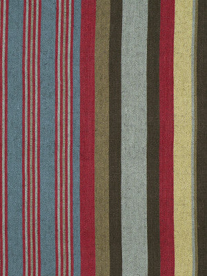 Parador Stripe Fabric - Red Turquoise