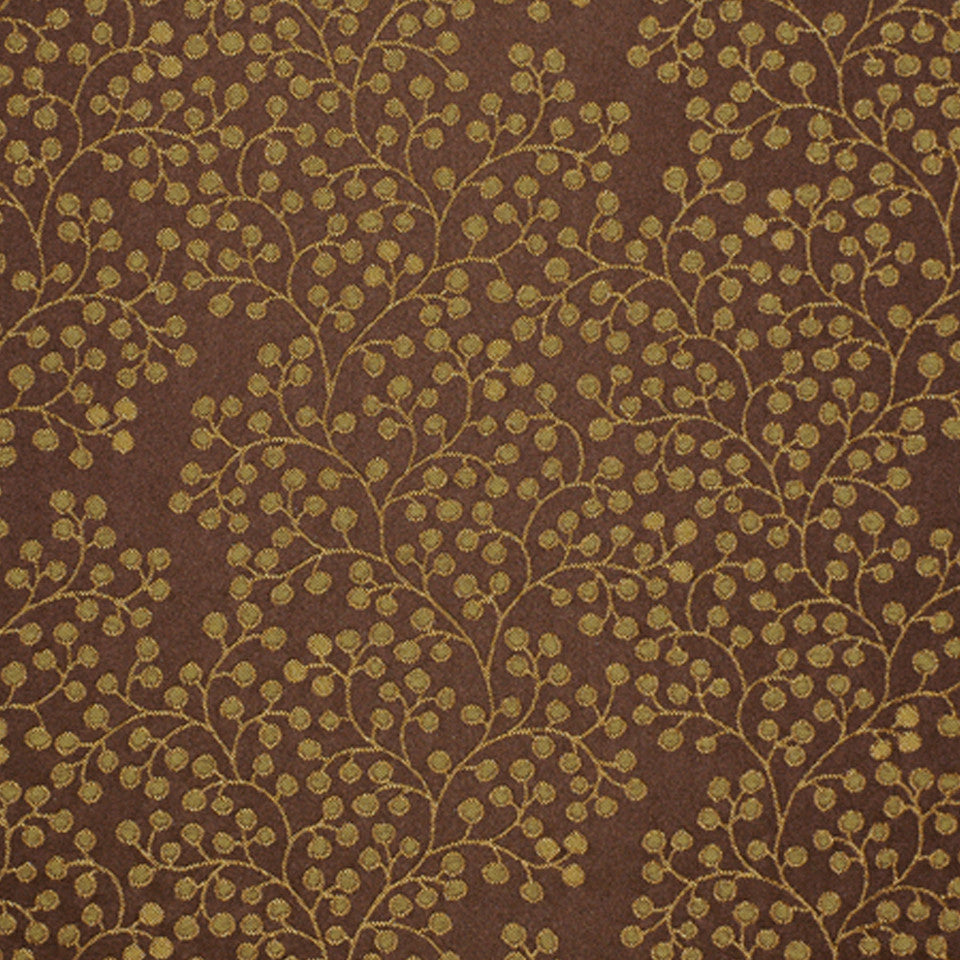 DRAWING ROOM UPH CONTRACT Berry Stems Fabric - Olive Tree