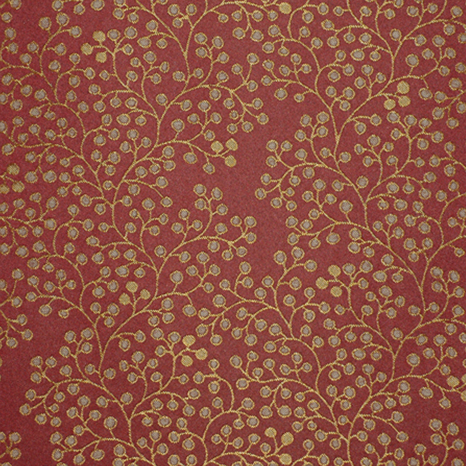 DRAWING ROOM UPH CONTRACT Berry Stems Fabric - Cabernet
