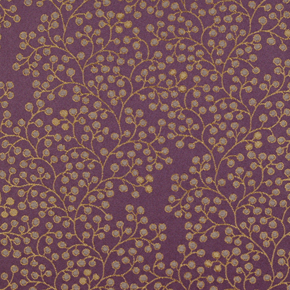 DRAWING ROOM UPH CONTRACT Berry Stems Fabric - Plum