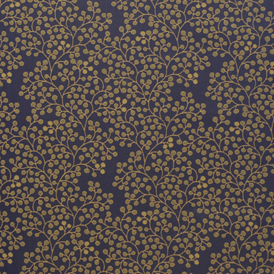 DRAWING ROOM UPH CONTRACT Berry Stems Fabric - Midnight