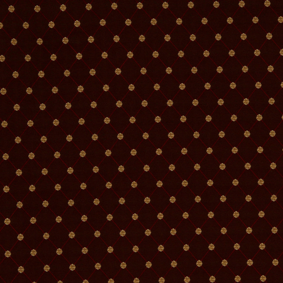RED HOT Flowercrest Fabric - Garnet