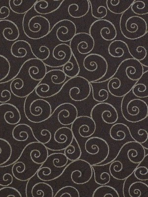 CORPORATE BINDER: PERFORMANCE/FINISHES DECORATIVE/UPH SOLIDS AND TEXTURES/ECO I Double Scroll Fabric - Cocoa