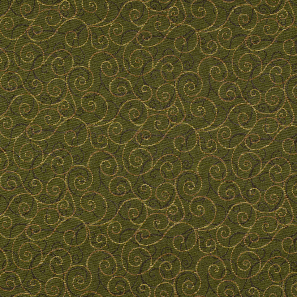 CORPORATE BINDER: PERFORMANCE/FINISHES DECORATIVE/UPH SOLIDS AND TEXTURES/ECO I Double Scroll Fabric - Foliage
