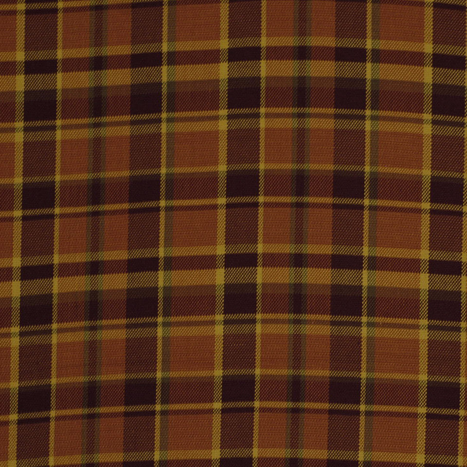 LA CAMPAGNE Hopsack Plaid Fabric - Persimmon