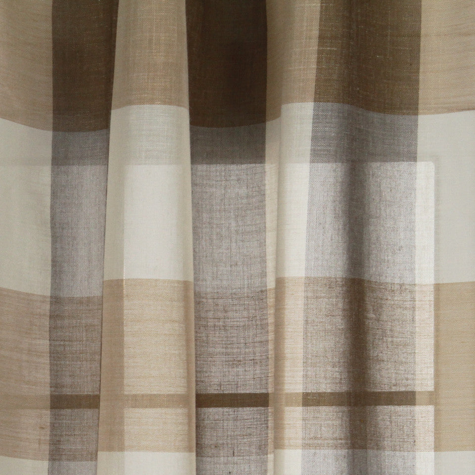 LINEN SHEERS STRIPES & PLAIDS Outer Banks Fabric - Driftwood