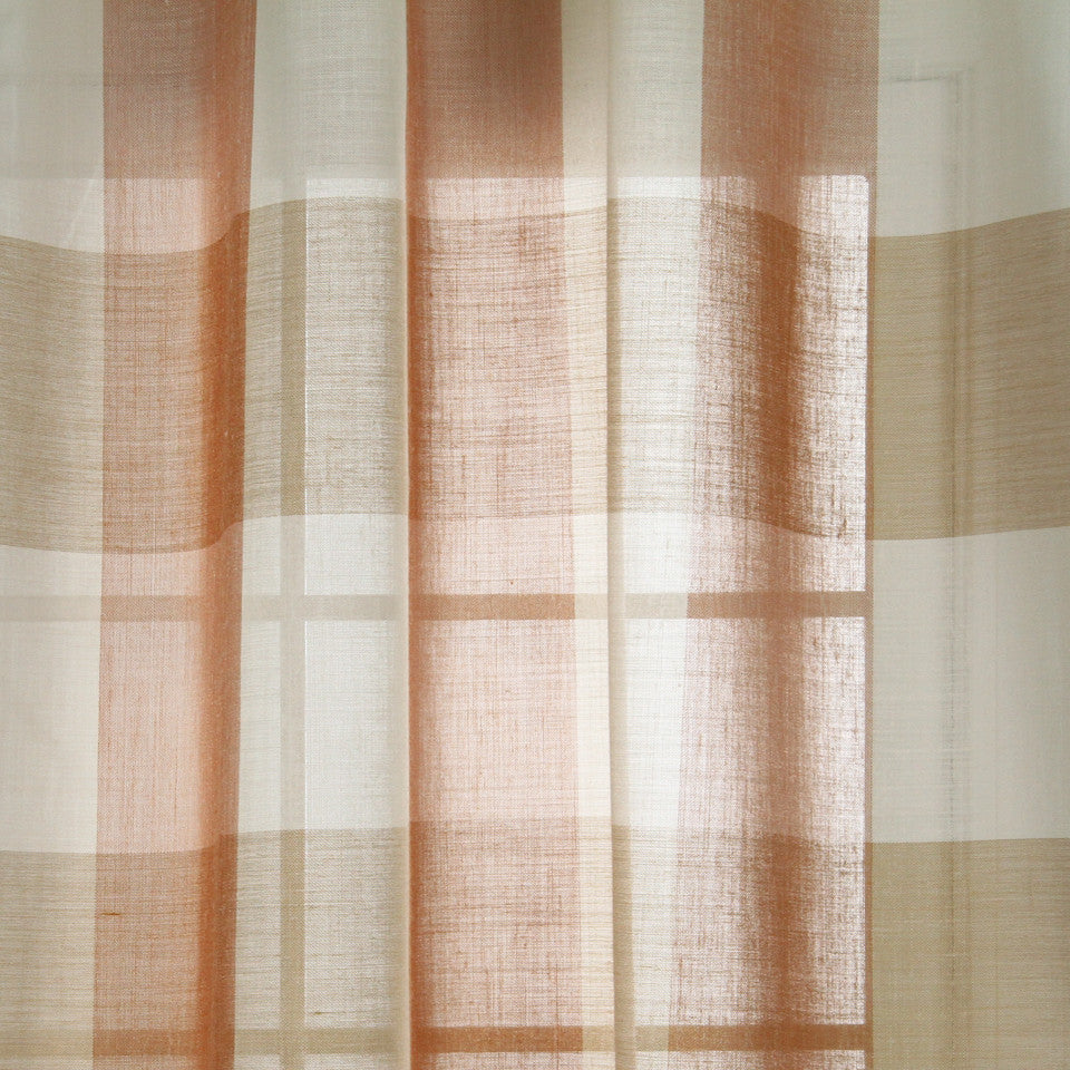 LINEN SHEERS STRIPES & PLAIDS Outer Banks Fabric - Sunset