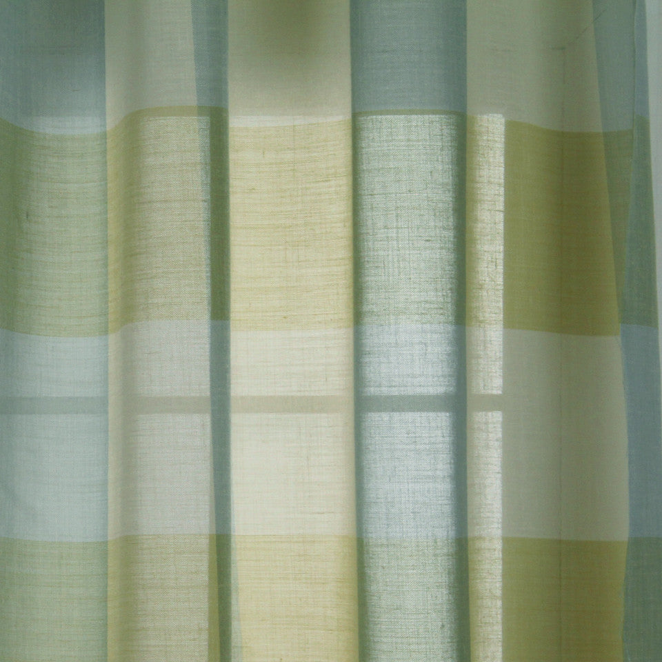 LINEN SHEERS STRIPES & PLAIDS Outer Banks Fabric - Oasis