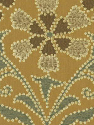 TOURMALINE Stacia Flora Fabric - Golden Teal