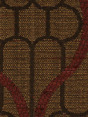 DECORATIVE PERFORMANCE Ogee Maze Fabric - Chestnut