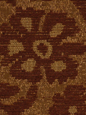 DECORATIVE PERFORMANCE Woven Leaves Fabric - Nutmeg