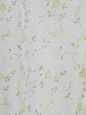 EMBELLISHED SILK SHEERS Anas Flowers Fabric - Surf