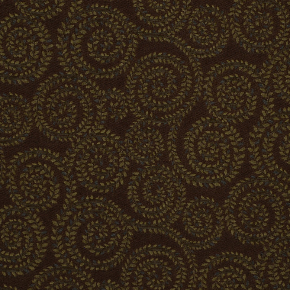 MIRAGE I Leaf Spirals Fabric - Moonstone