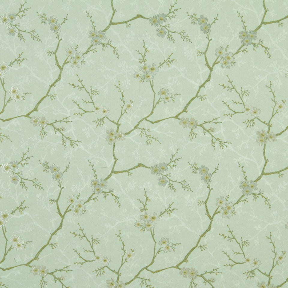 PISTACHIO Willow Flowers Fabric - Pistachio