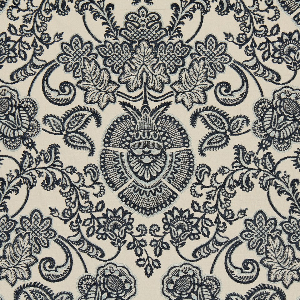 SHELTER ISLAND Siena Damask Fabric - Wedgewood
