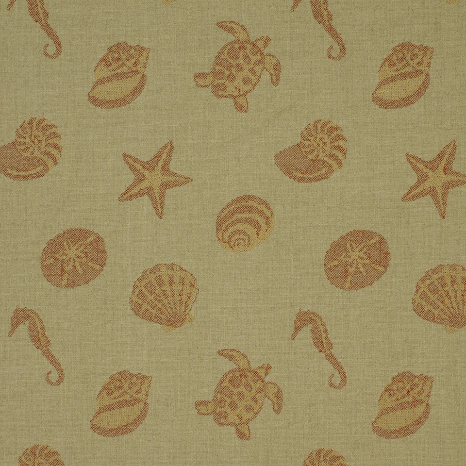SHELTER ISLAND Under The Sea Fabric - Red Sea