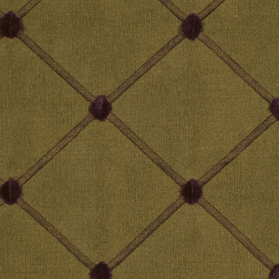 TULIP-ZINNIA-BERRY Quilted Dots Fabric - Caramel