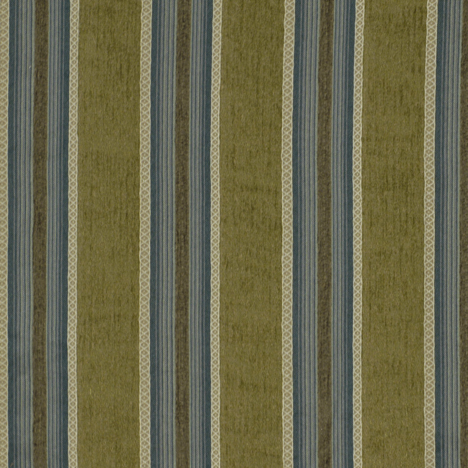CORPORATE BINDER: PERFORMANCE/FINISHES DECORATIVE/UPH SOLIDS AND TEXTURES/ECO I Central Stripe Fabric - Aloe