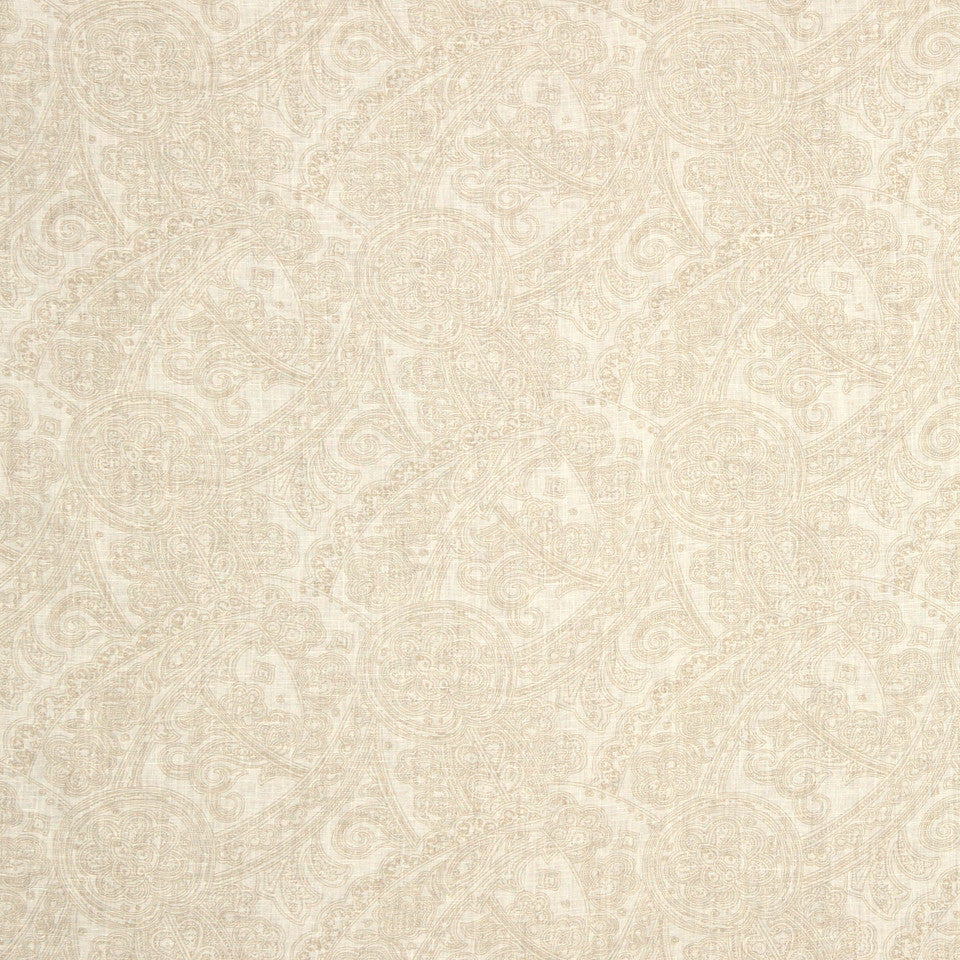 GRAIN-COBBLESTONE-SEA Flax In Bloom Fabric - Natural