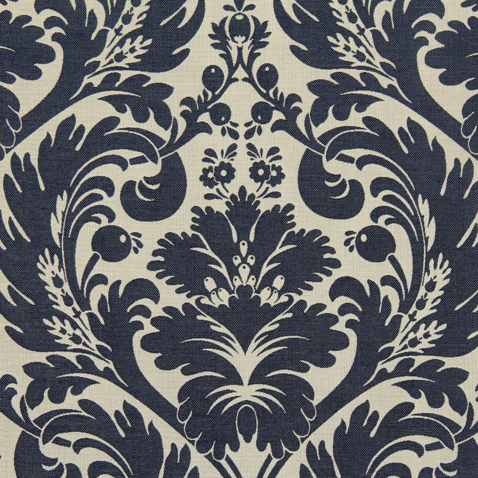 PRUSSIAN Big Leaves Fabric - Prussian