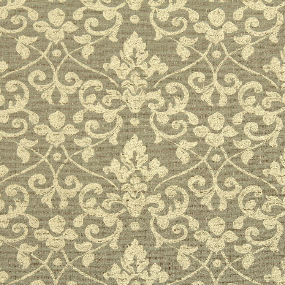 ETHNIC CHIC Lisbon Damask Fabric - Ecru