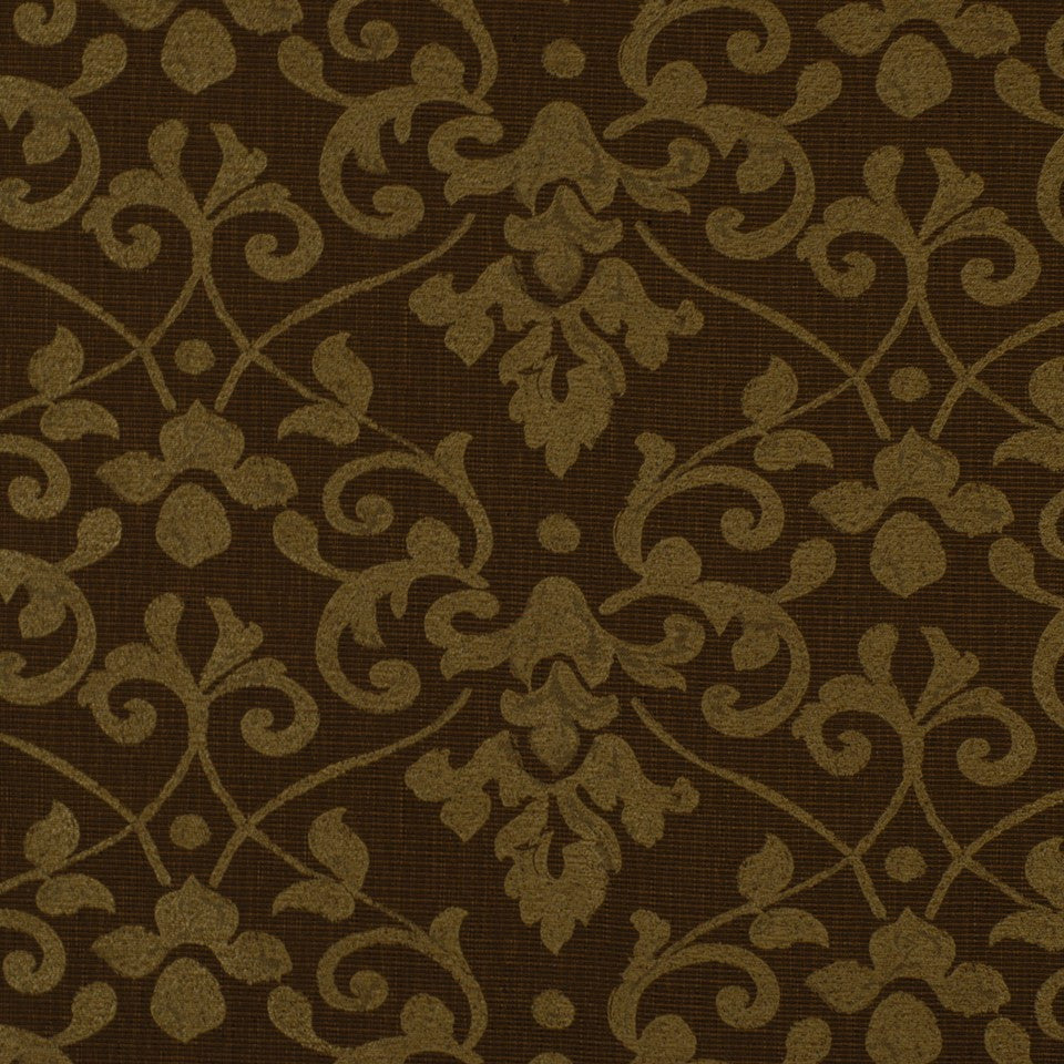 ETHNIC CHIC Lisbon Damask Fabric - Sepia