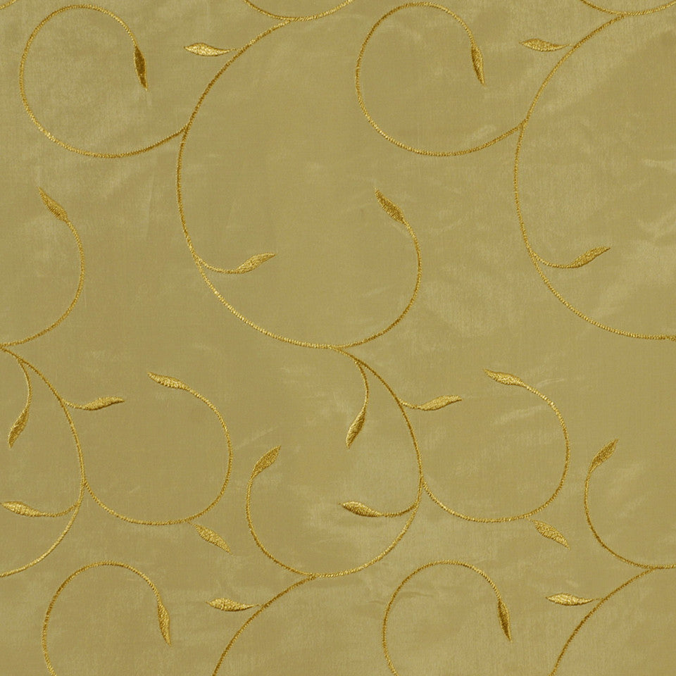 DESIGN ELEMENTS Twining Leaves Fabric - Gold