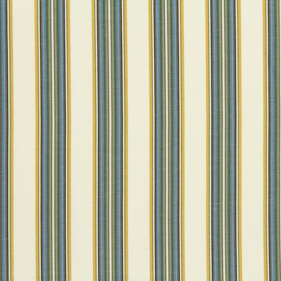 PEWTER-TOURMALINE-BLUEBELL Villa Stripe Fabric - Sunblue