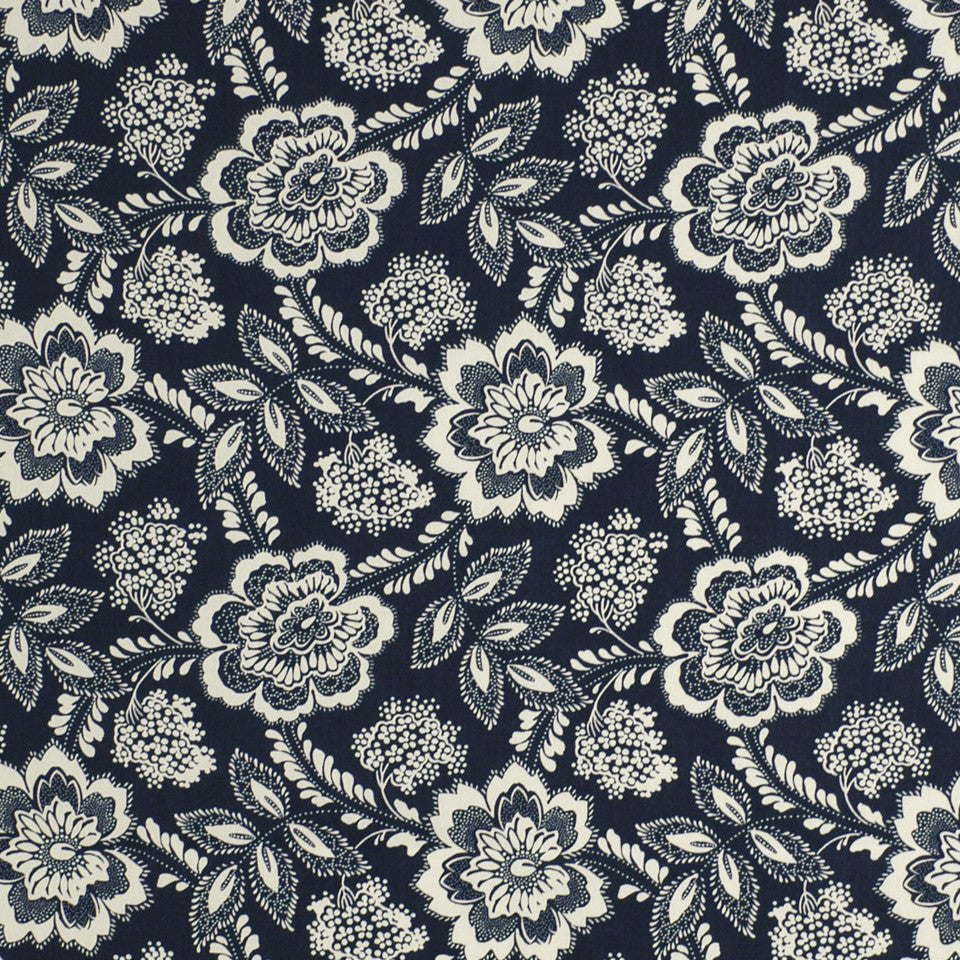 MOSIACS INDOOR/OUTDOOR Flower N Berry Fabric - Prussian