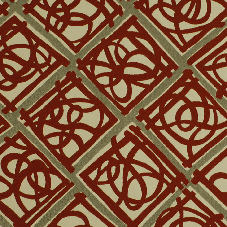 MOSIACS INDOOR/OUTDOOR Knots Fabric - Pomegranate