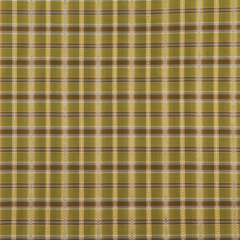 LEAF-LEEK-TARRAGON Stitched Check Fabric - Leek