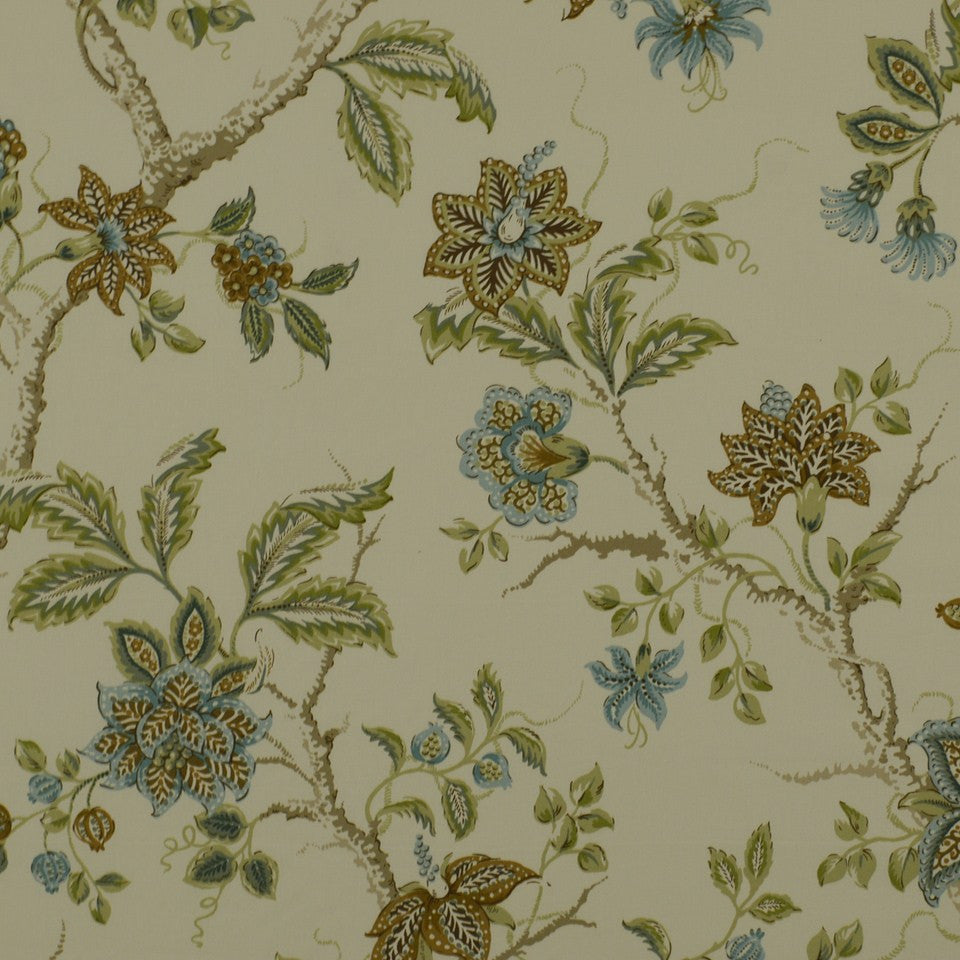 PEWTER-TOURMALINE-BLUEBELL Meadowview Fabric - Capri