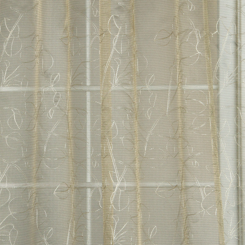 MODERN SHEERS Sheer Leaves Fabric - Cashew