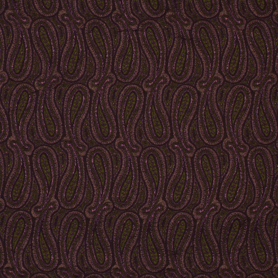 TOURMALINE-INDIGO-MULBERRY Shiny Paisley Fabric - Mulberry