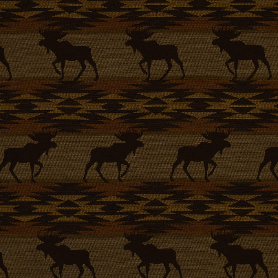 FIRESIDE Moose On Loose Fabric - Dusk