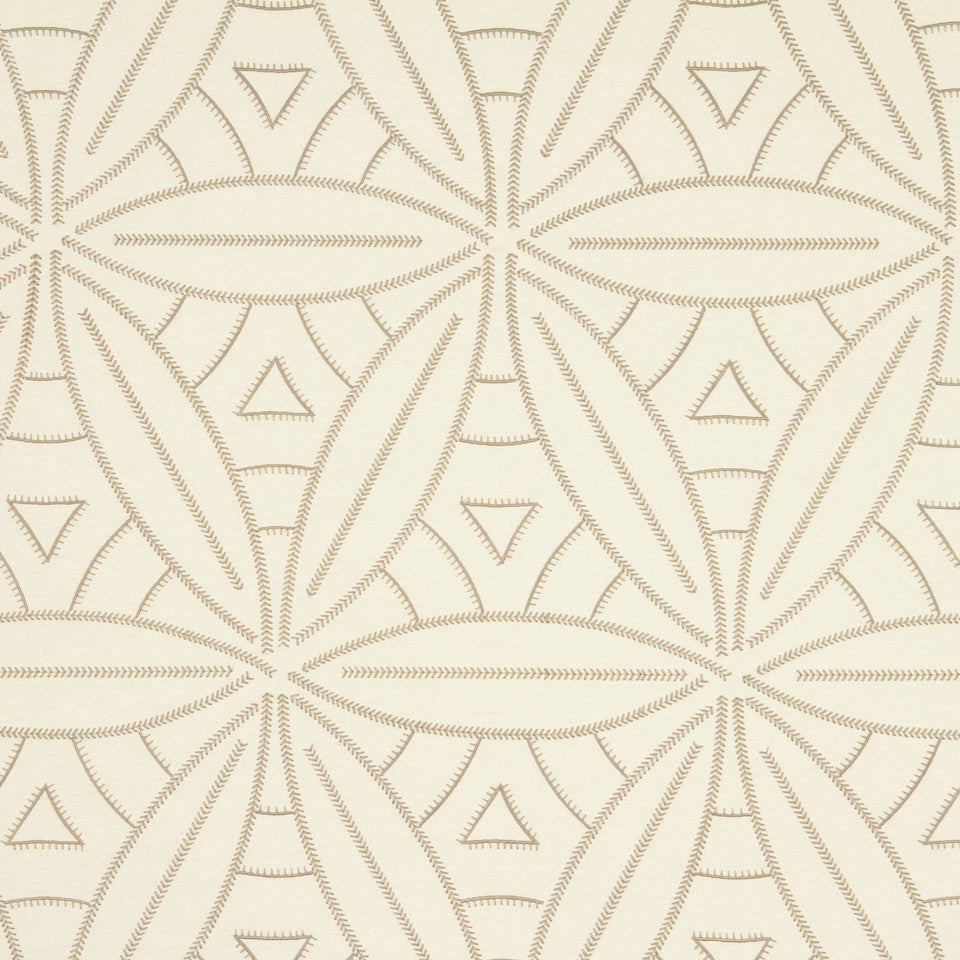 LARRY LASLO RUSTIC CHIC Leafy Stitch Fabric - Stucco