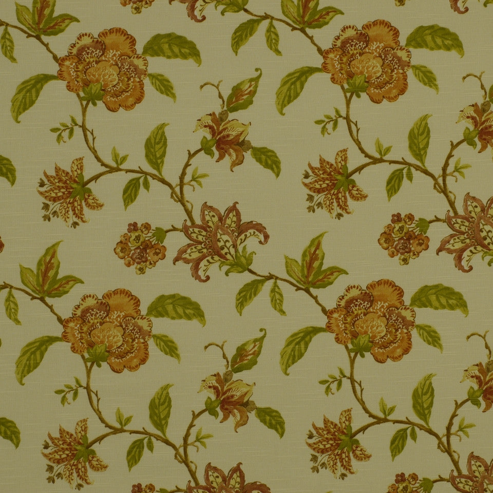 SUNSET-HENNA-BERRY Les Jardins Fabric - Bronze